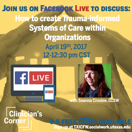 Sign Up For Clinician's Corner Facebook Live Session, April 19th, 2017