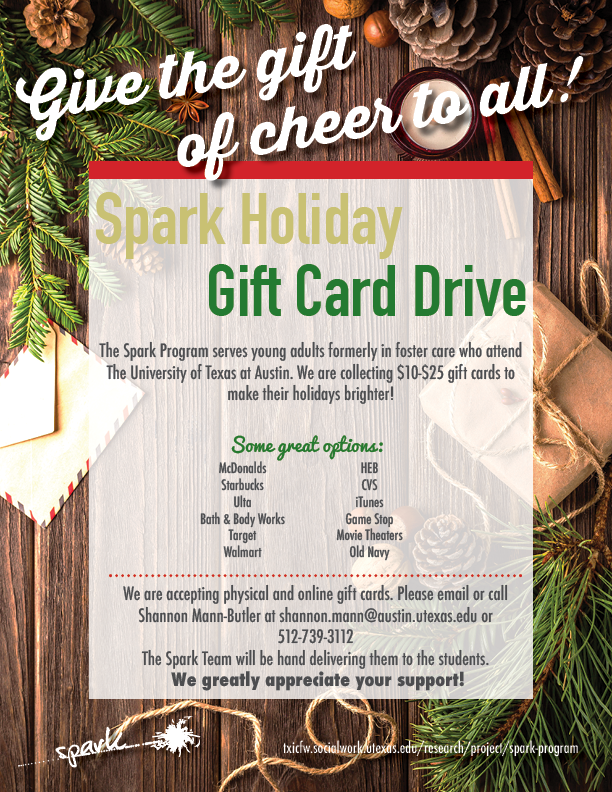 Spark Holiday Gift Card Drive 2017 - Texas Institute for