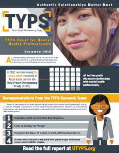 Texas Youth Permanency Study TYPS Sheet Mental Health Professionals