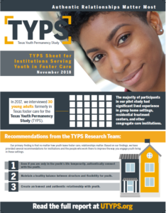 Texas Youth Permanency Study Sheet Institutions Serving Youth in Foster Care