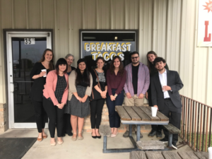 Inter-disciplinary team of social work students and law students stopping for breakfast tacos in Seguin, Texas, on the way to Karnes immigrant detention facility. Photo credit: Ana Hernández